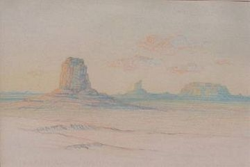 "Pastel: ""Dawn in the Land of the Buttes"" by George Elbert Burr"