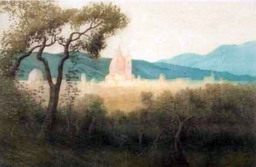"Print: ""Florence from Mount Olivet"" by George Elbert Burr"