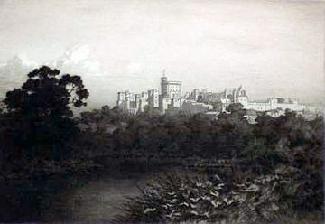 "Print: ""Windsor Castle, Evening"" by George Elbert Burr"