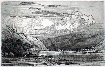 "Print: ""The Rhine below St. Goar"" by George Elbert Burr"