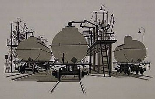 "Print: ""Tank Cars"" by Edwin Fulwider"