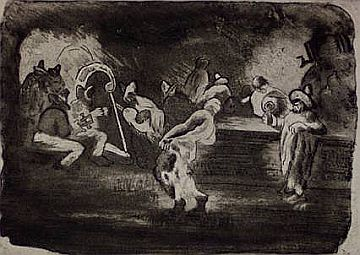 "Print: Etching & Aquatint by George O. ""Pop"" Hart (Am 1868-1933), titled ""Dias de Fiesta"", signed and titled, 1926"