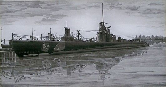 "Print: ""USS Haddo - Portrait of a Submarine"" by John Taylor Arms"