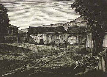 "Print: ""Farm Yard in Vermont"" by Channing Smith"