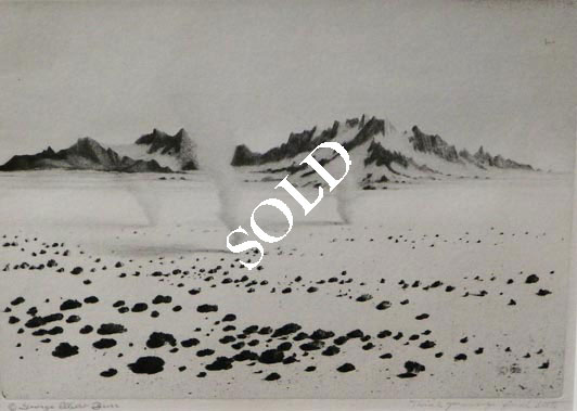 Etching- Whirlwinds, Mojave Desert (No.1) by George Elbert Burr