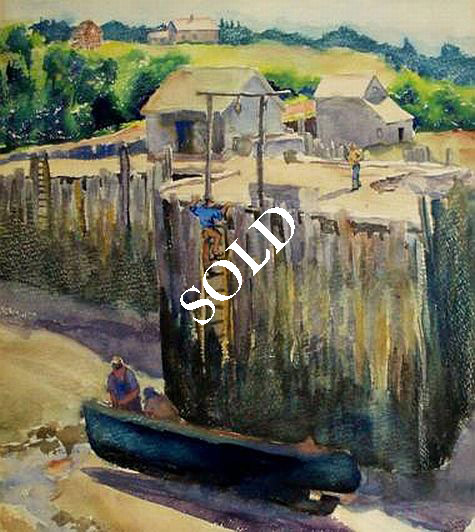 "Harwood Steiger Watercolor: ""Fundy Wharves"""