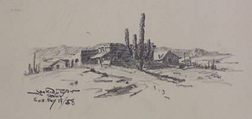 "Print #25: ""Desert Dwellings and Saguaro"" by Jack Van Ryder"